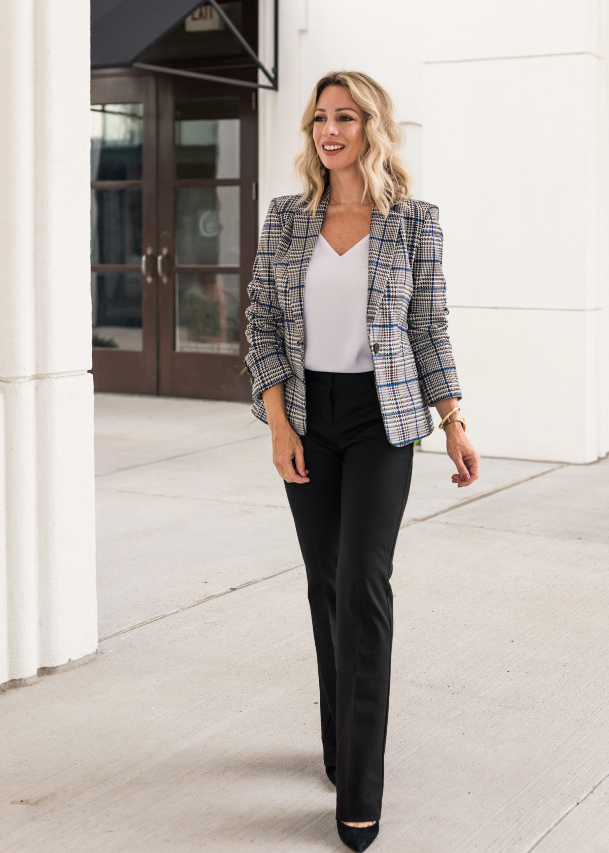 work outfit - plaid blazer and black pants