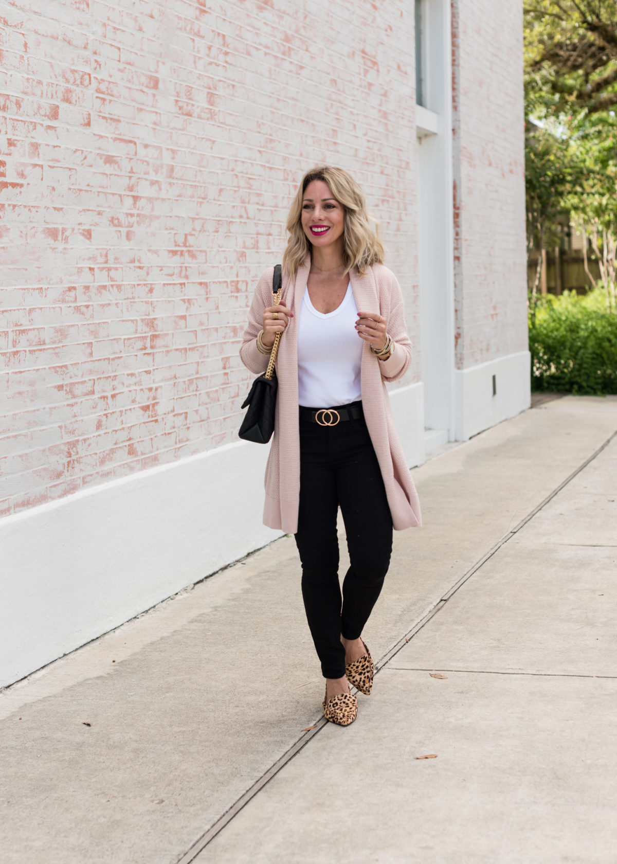 Pink Cardigan, White Tee and Black Jeans