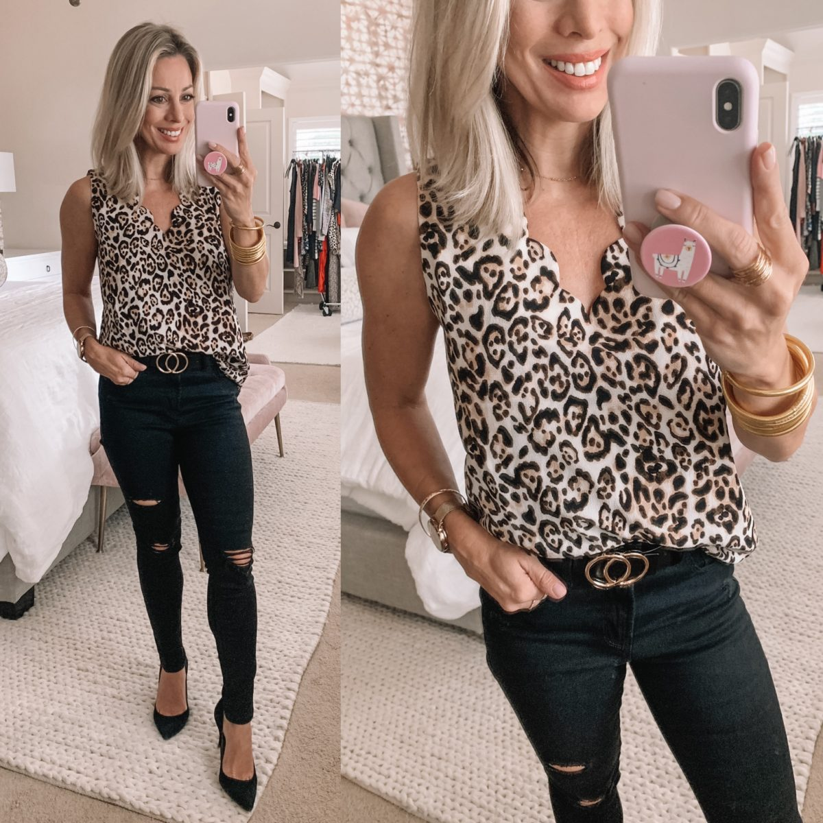 Scalloped Cheetah Tank, Black Distressed Jeans