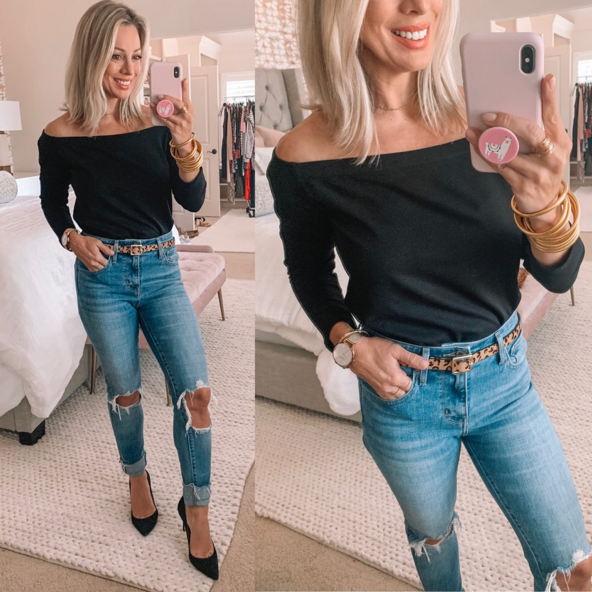 Black Off The Shoulder Sweater, Distressed Jeans
