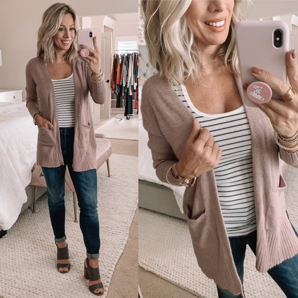Old Navy Blush Open Front Cardigan
