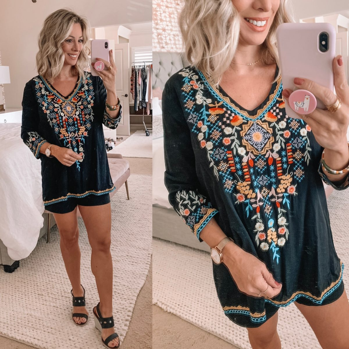 Amazon Black Embroidered Tunic