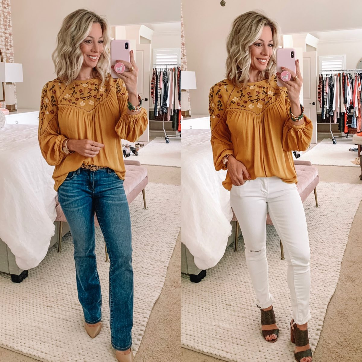 Amazon Yellow Embroidered Boho Top