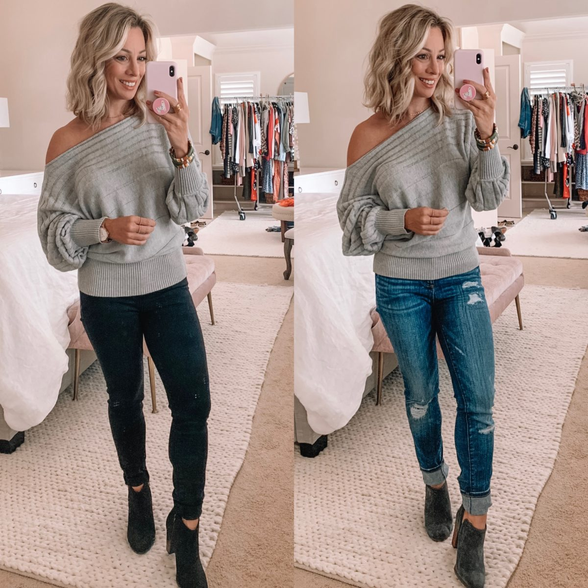 Amazon Grey Off The Shoulder Sweater