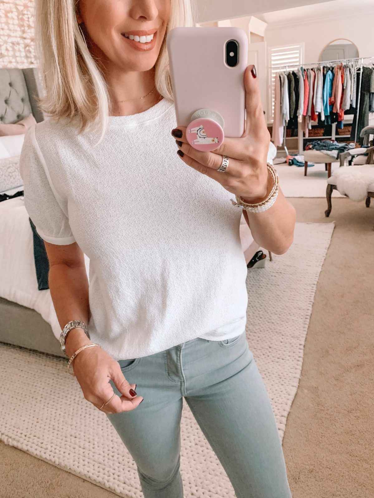 Loft White Terry Cloth Top