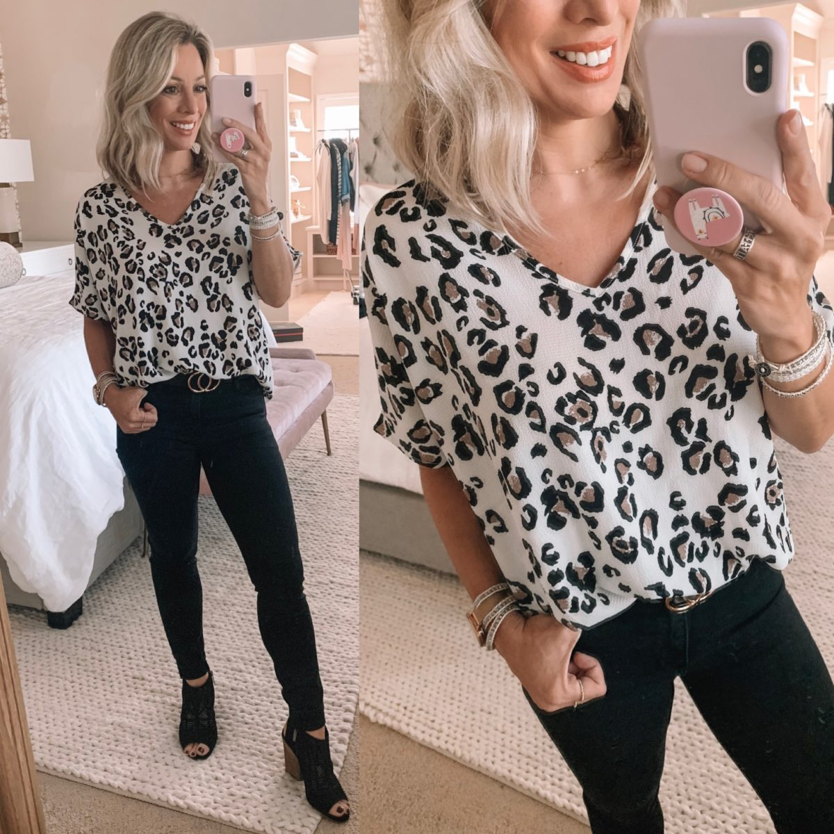Cheetah Top, Black Jeans