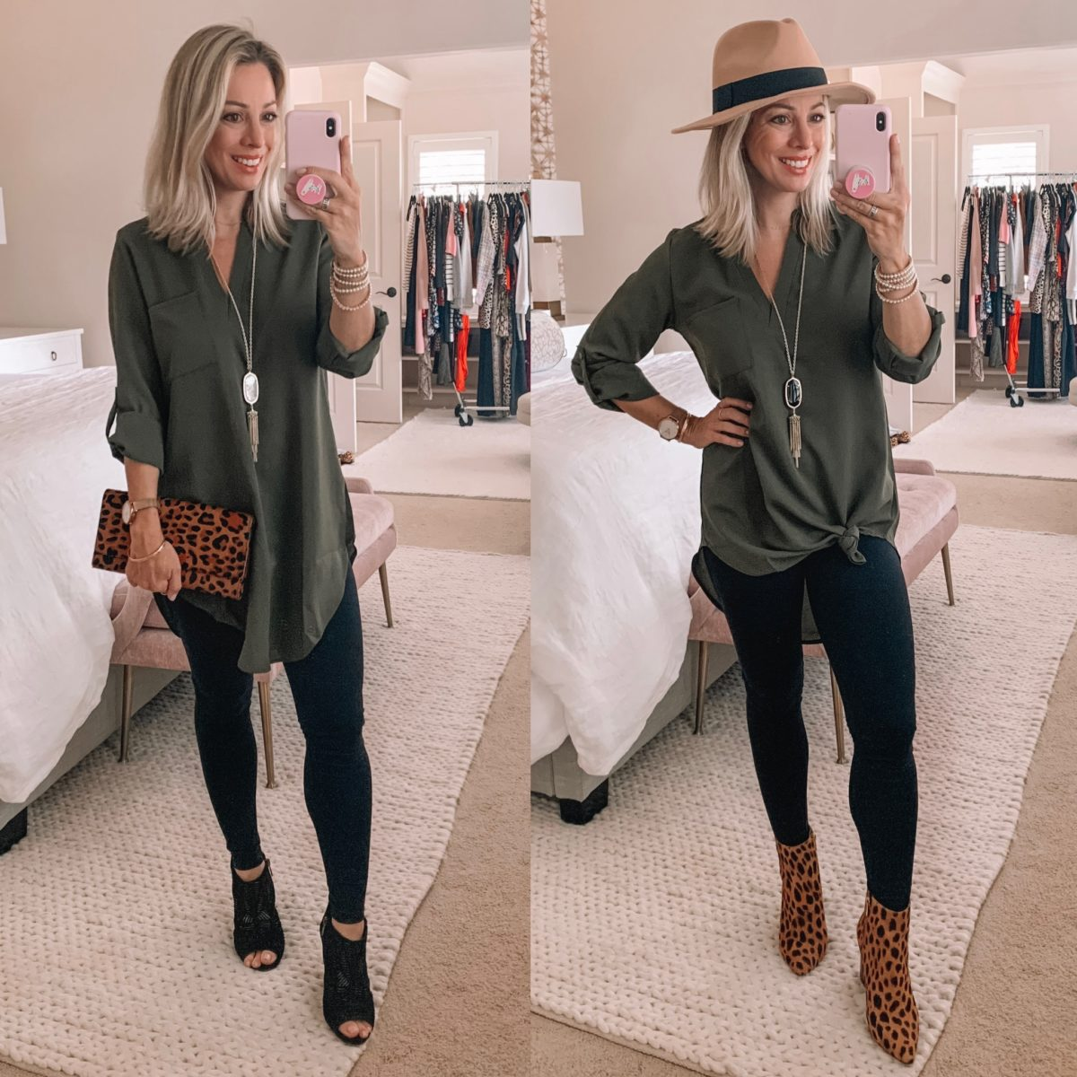 Amazon Fashion Faves, Gree Tunic Top, Leggings, Booties, Leopard Clutch