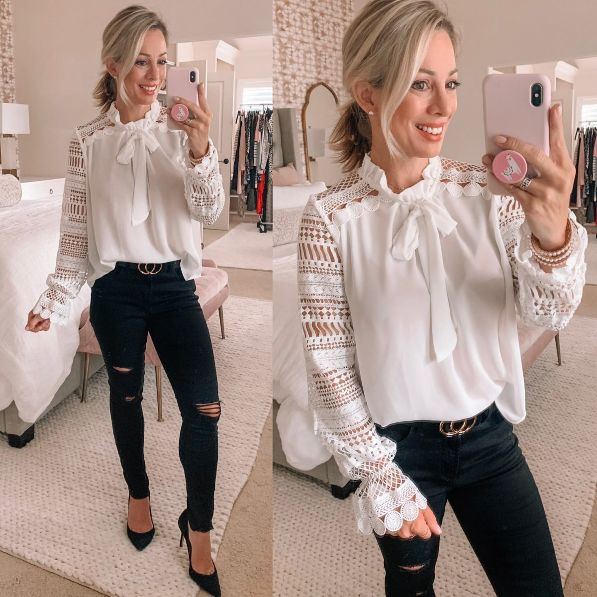 Amazon white lace top