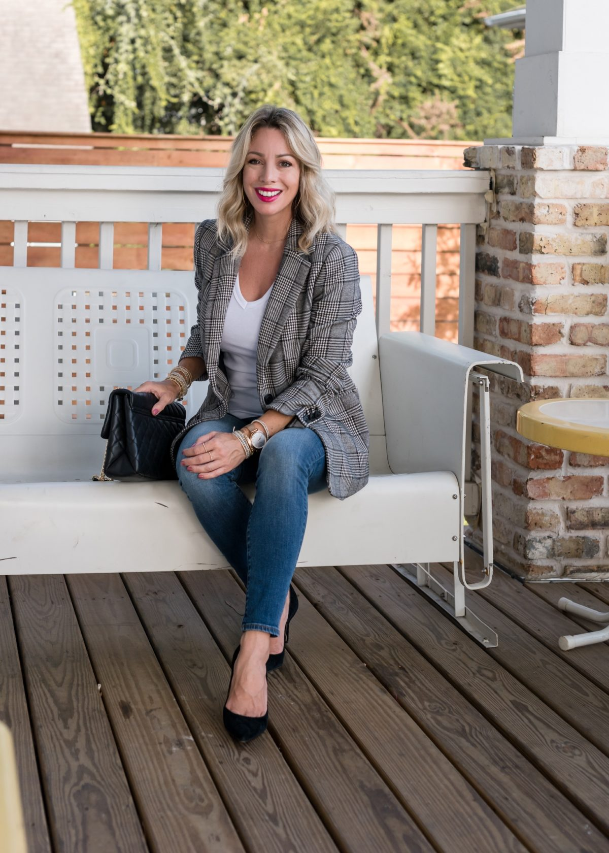 white tee with jeans and blazer