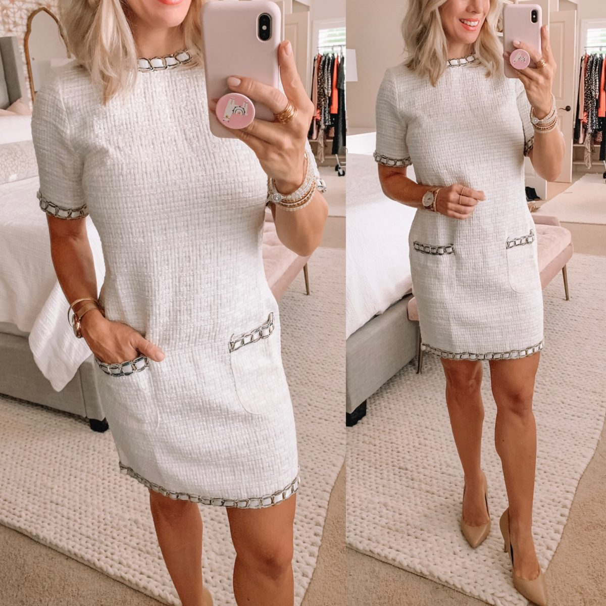 White tweed dress from Amazon