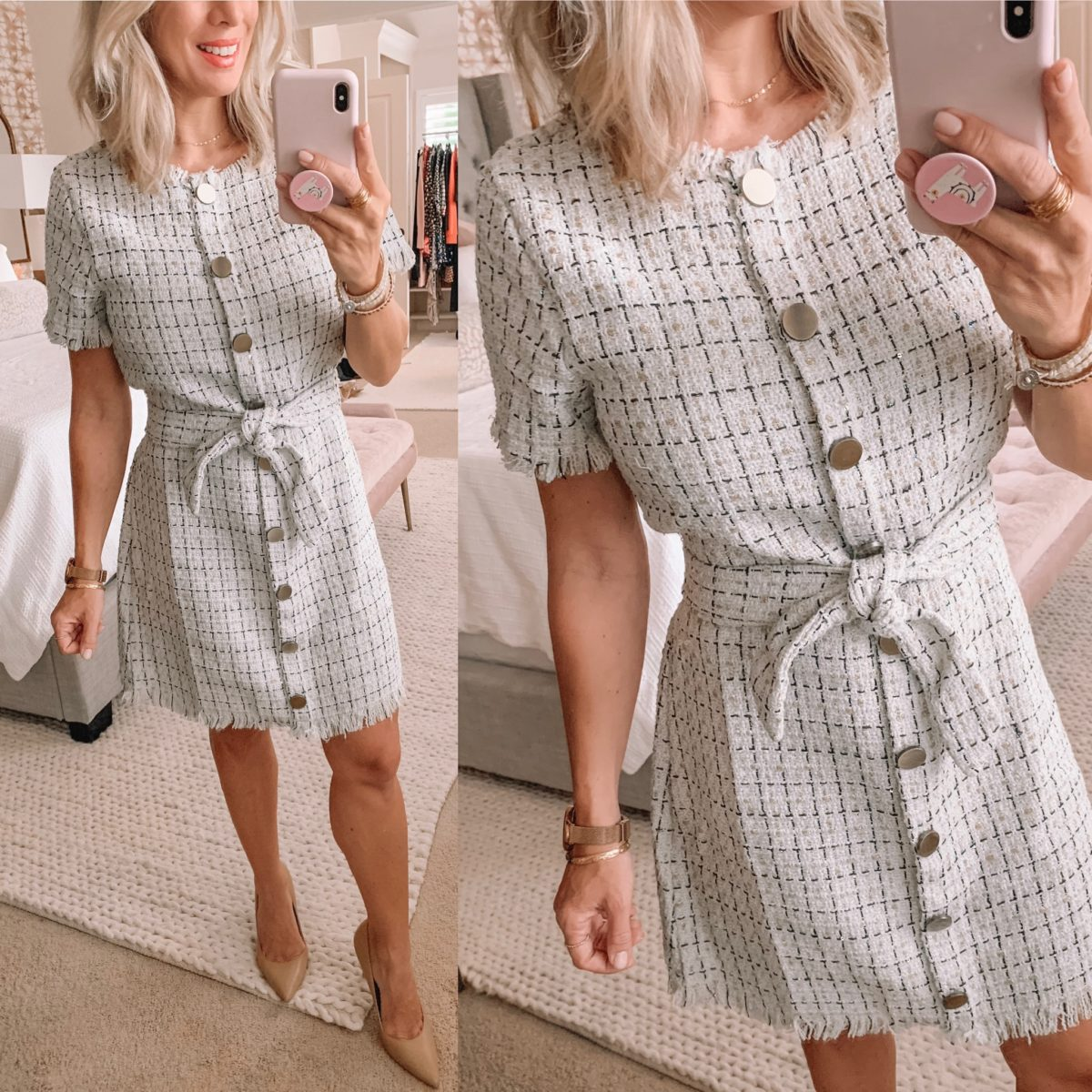 Button front tweed dress from Amazon
