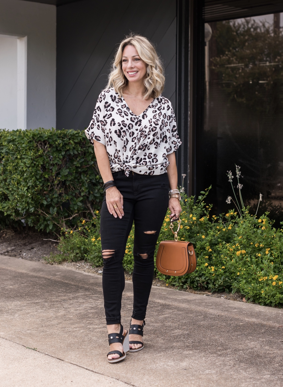 Leopard Top and Black Jeans
