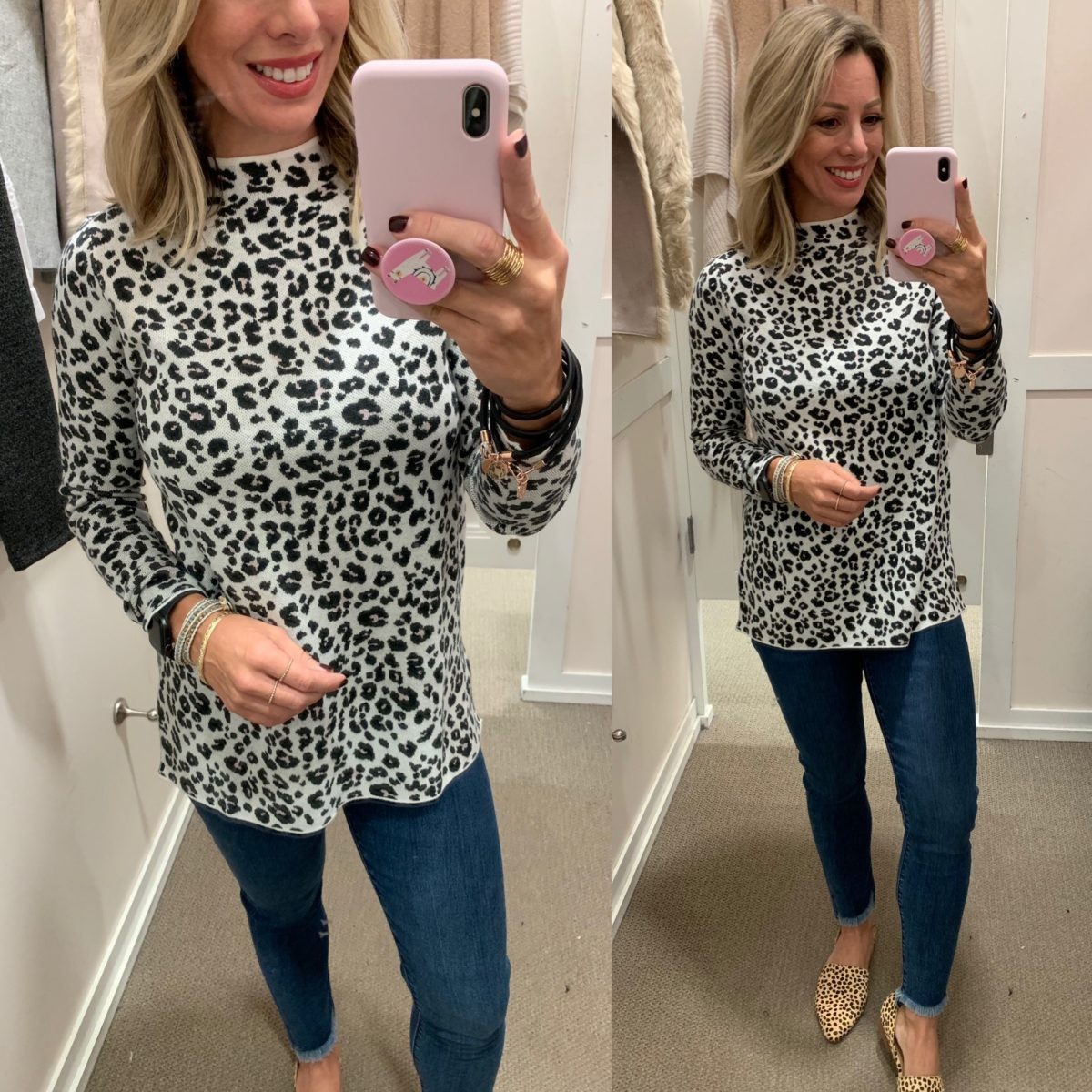 leopard sweater and jeans