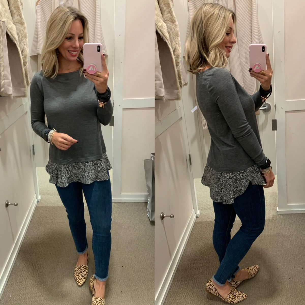 grey peplum top and jeans