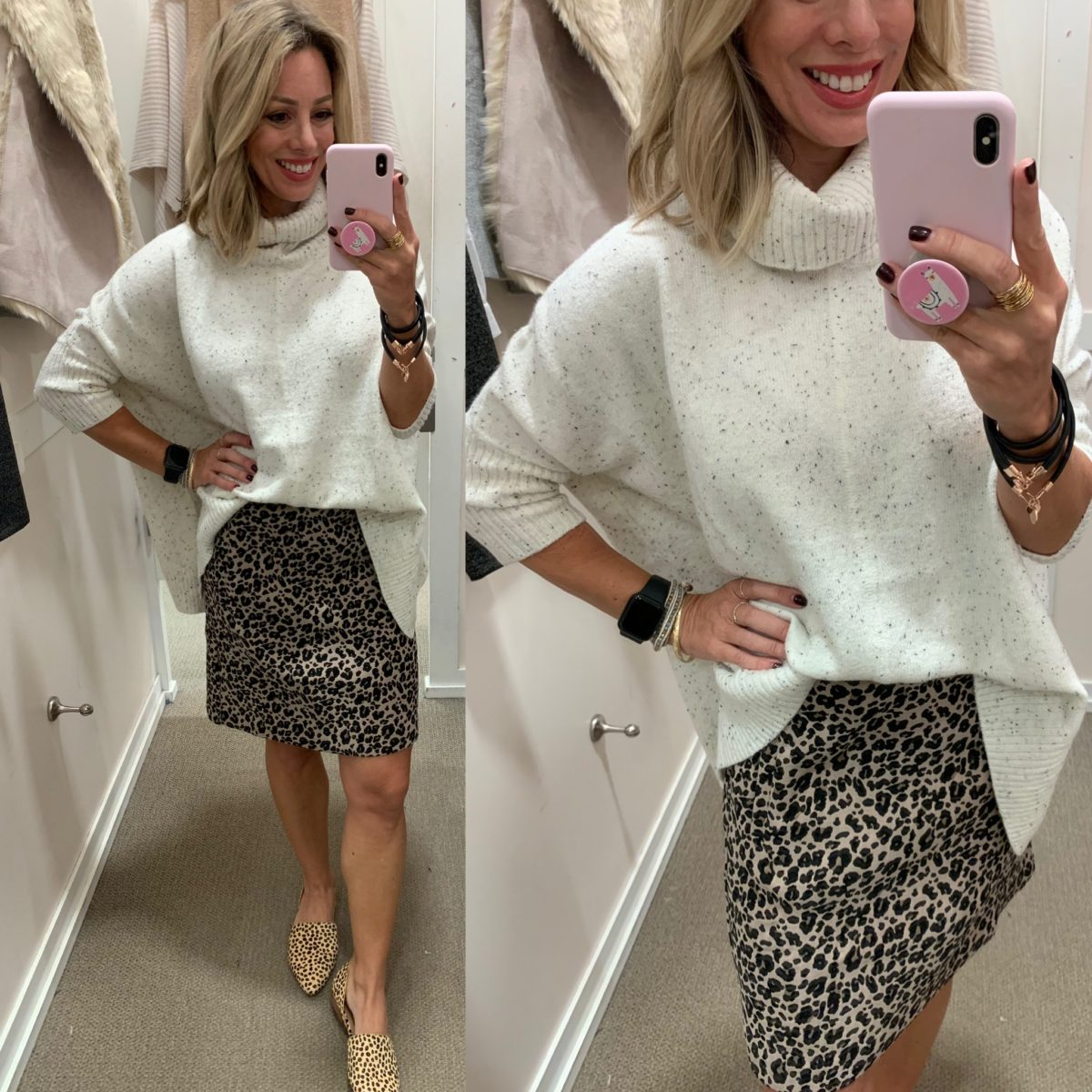 sweater and leopard skirt