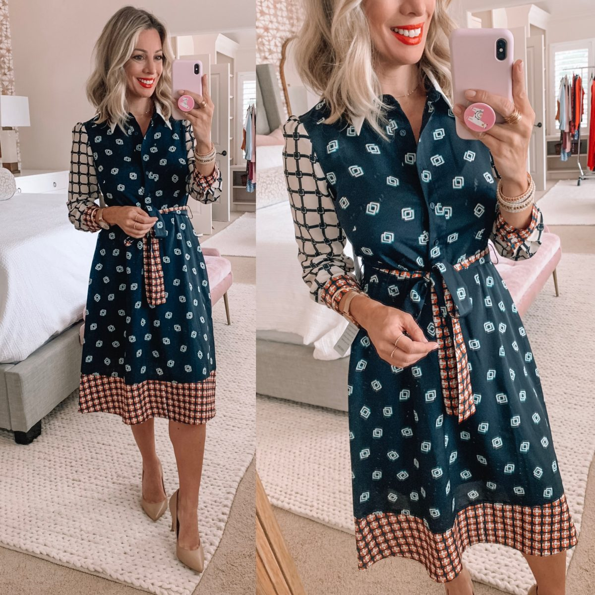 Long Sleeve Mixed Pattern Dress