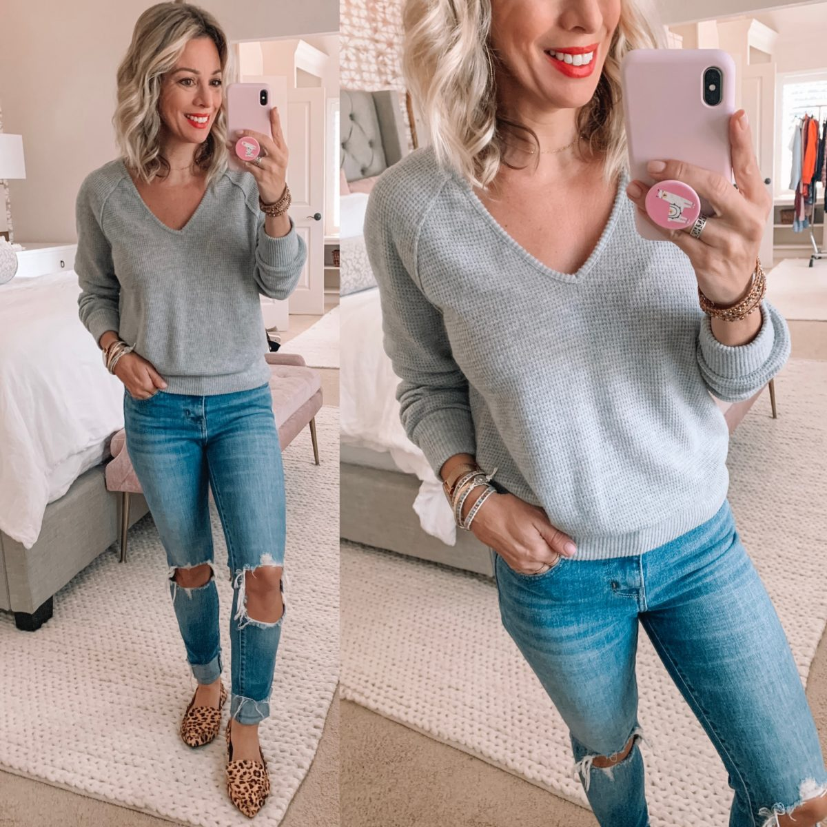 Grey V-Neck Sweater, Distressed Jeans and Leopard Flats