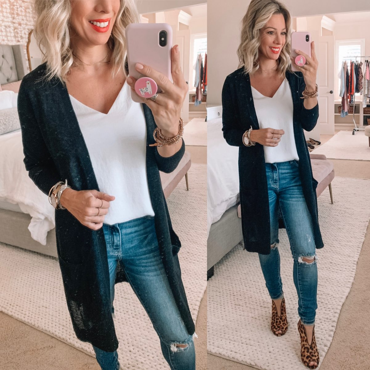 Black Open Front Cardigan, White V-Neck Cami