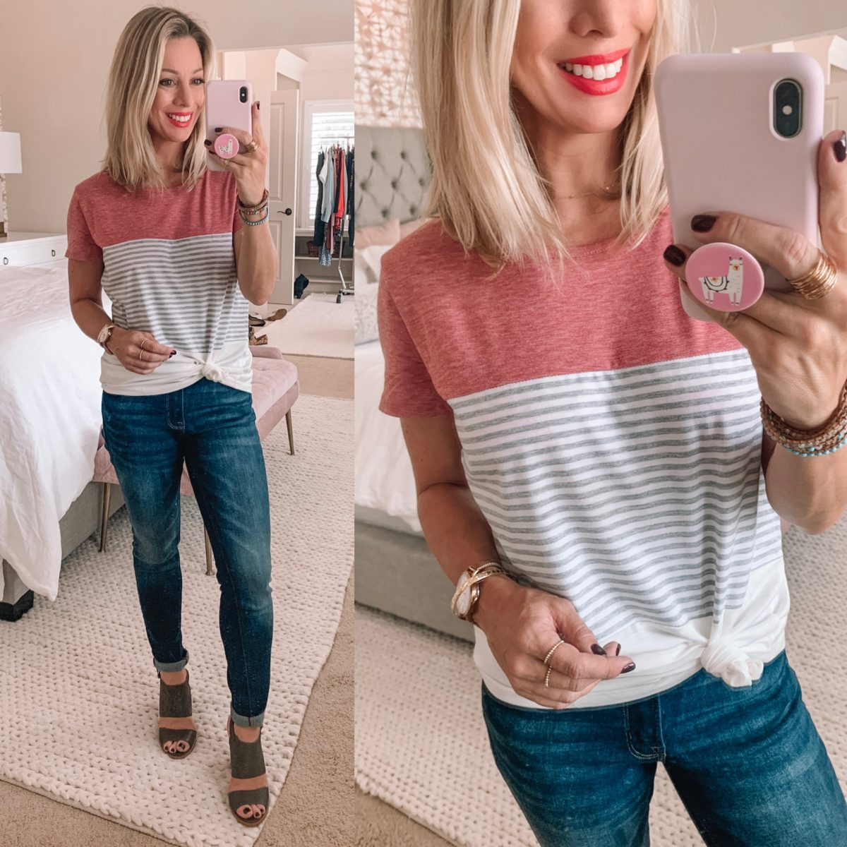 Amazon Striped Color Block Top