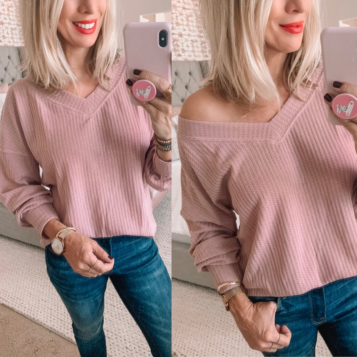 Amazon Pink Off the Shoulder Sweater