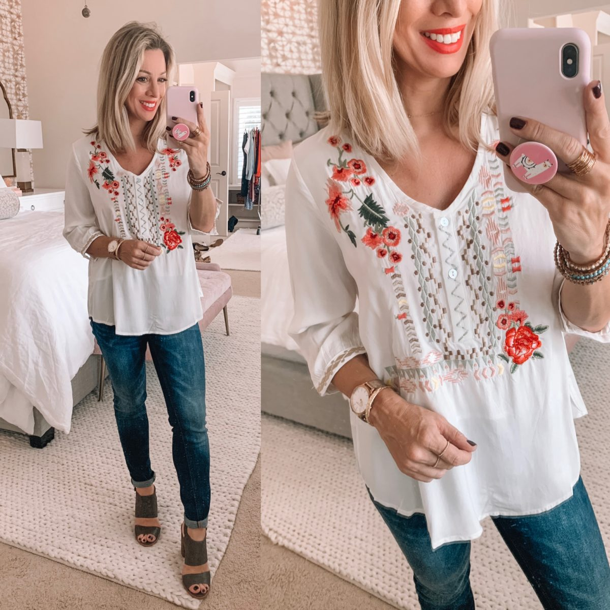 Amazon Floral Embroidered Top