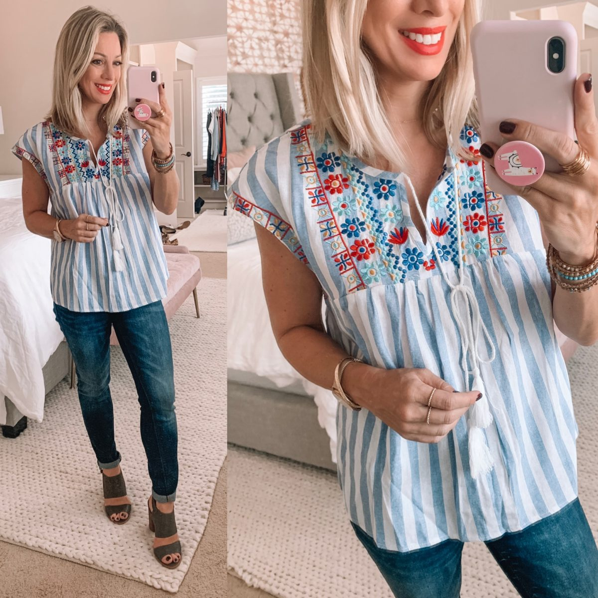 Amazon Striped Embroidered Shirt