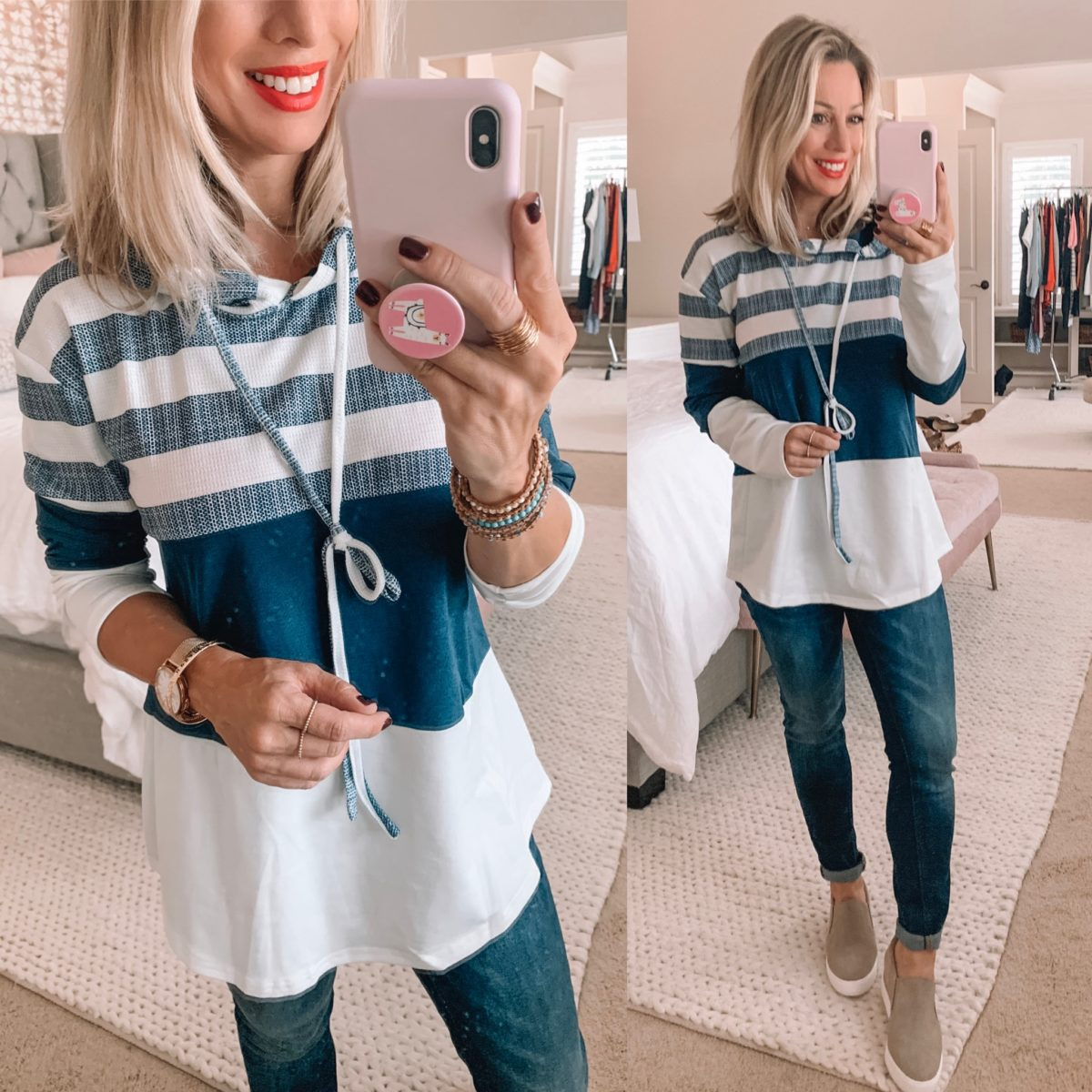 Amazon Striped Color Block Pullover