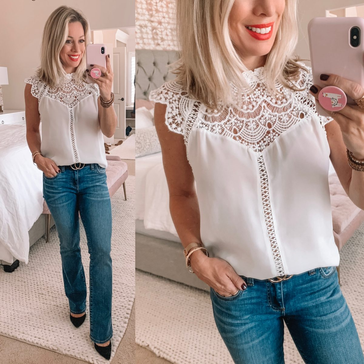 Amazon Keyhole Lace Blouse