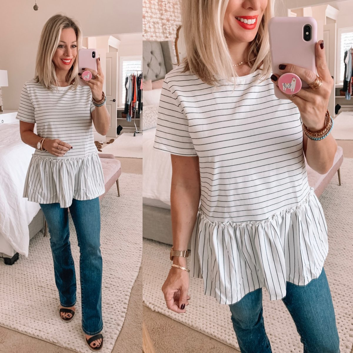 Amazon Striped Peplum Top