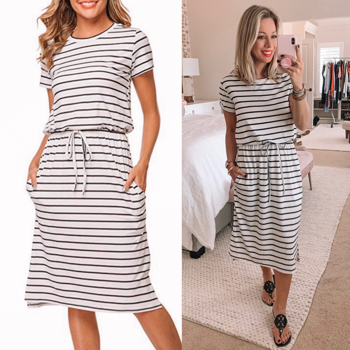 Amazon Striped Midi Dress