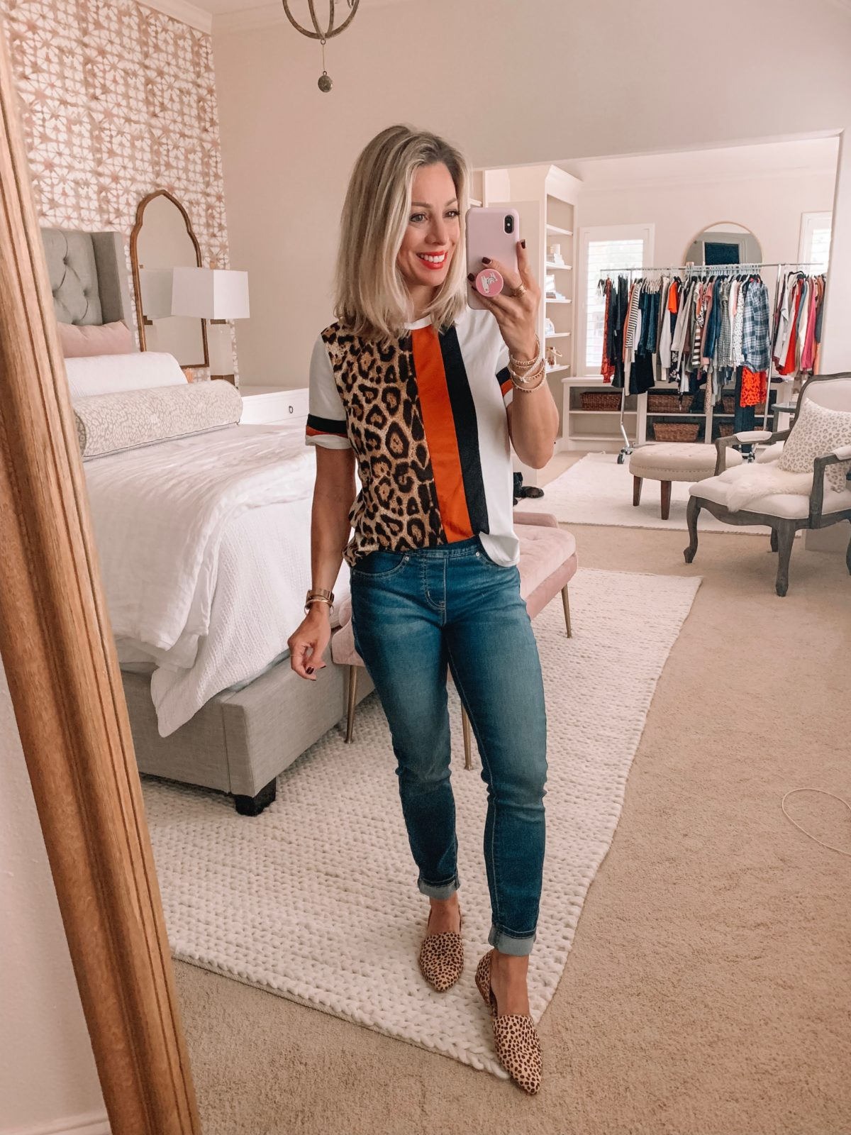 Amazon fashion haul, color block top and jeans