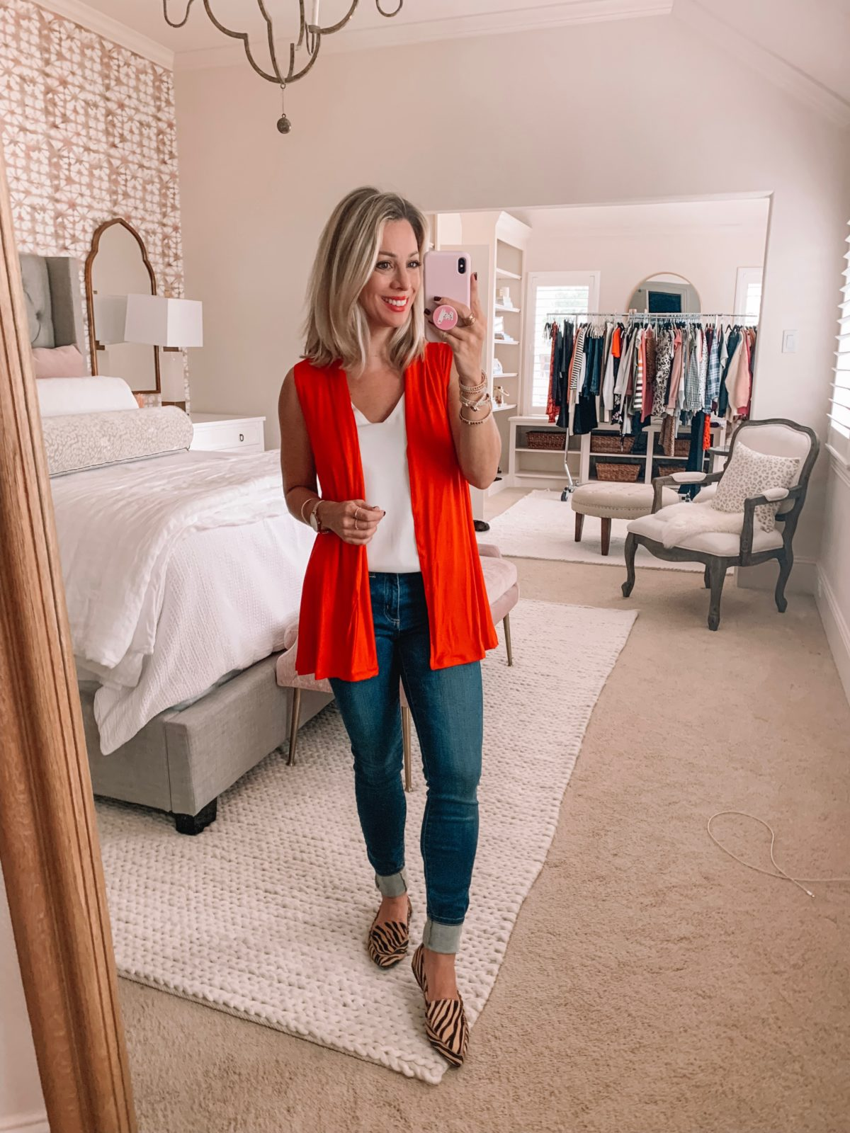 Amazon fashion haul, red cardigan and jeans