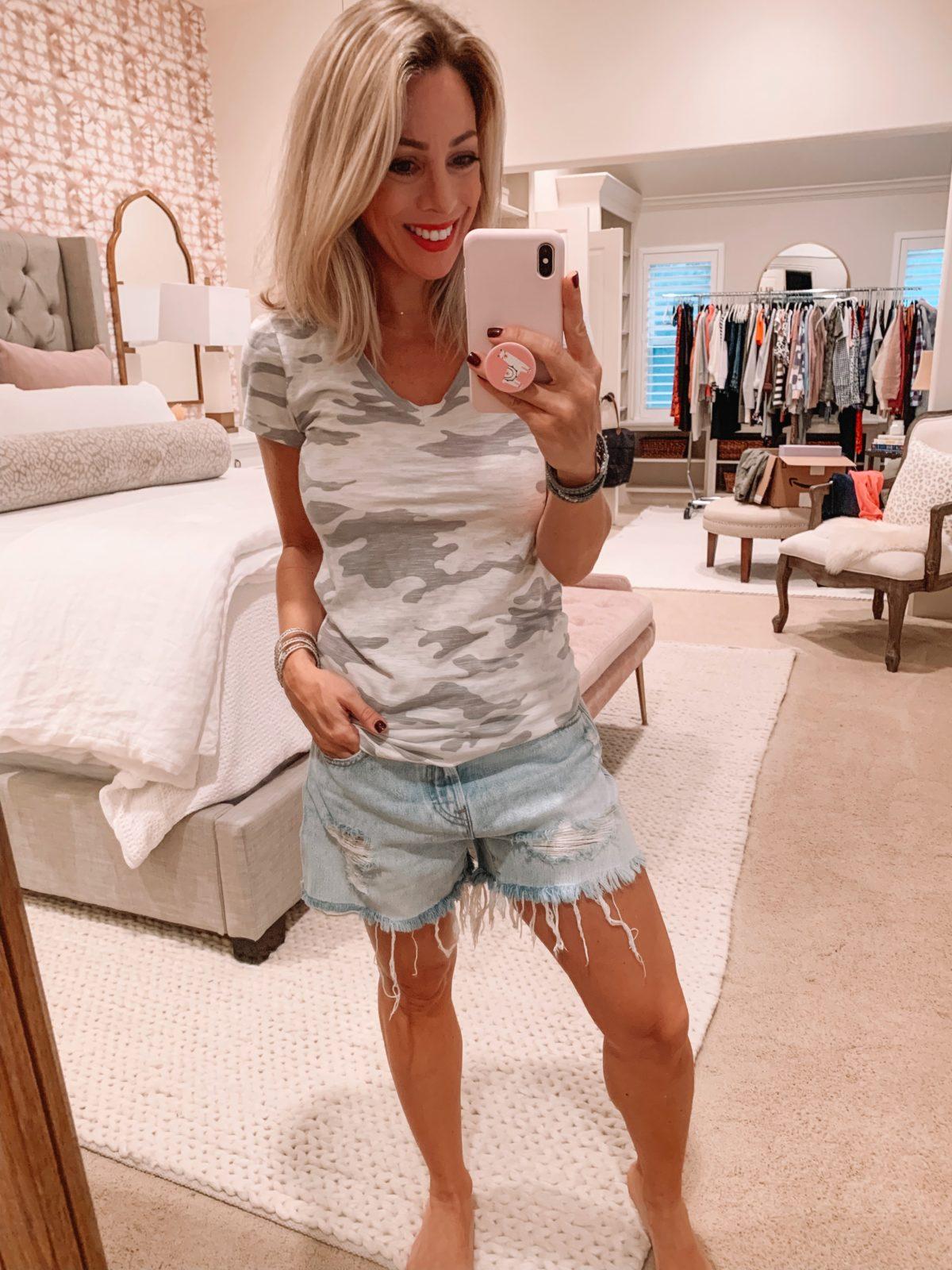 Amazon fashion haul, camo top and shorts