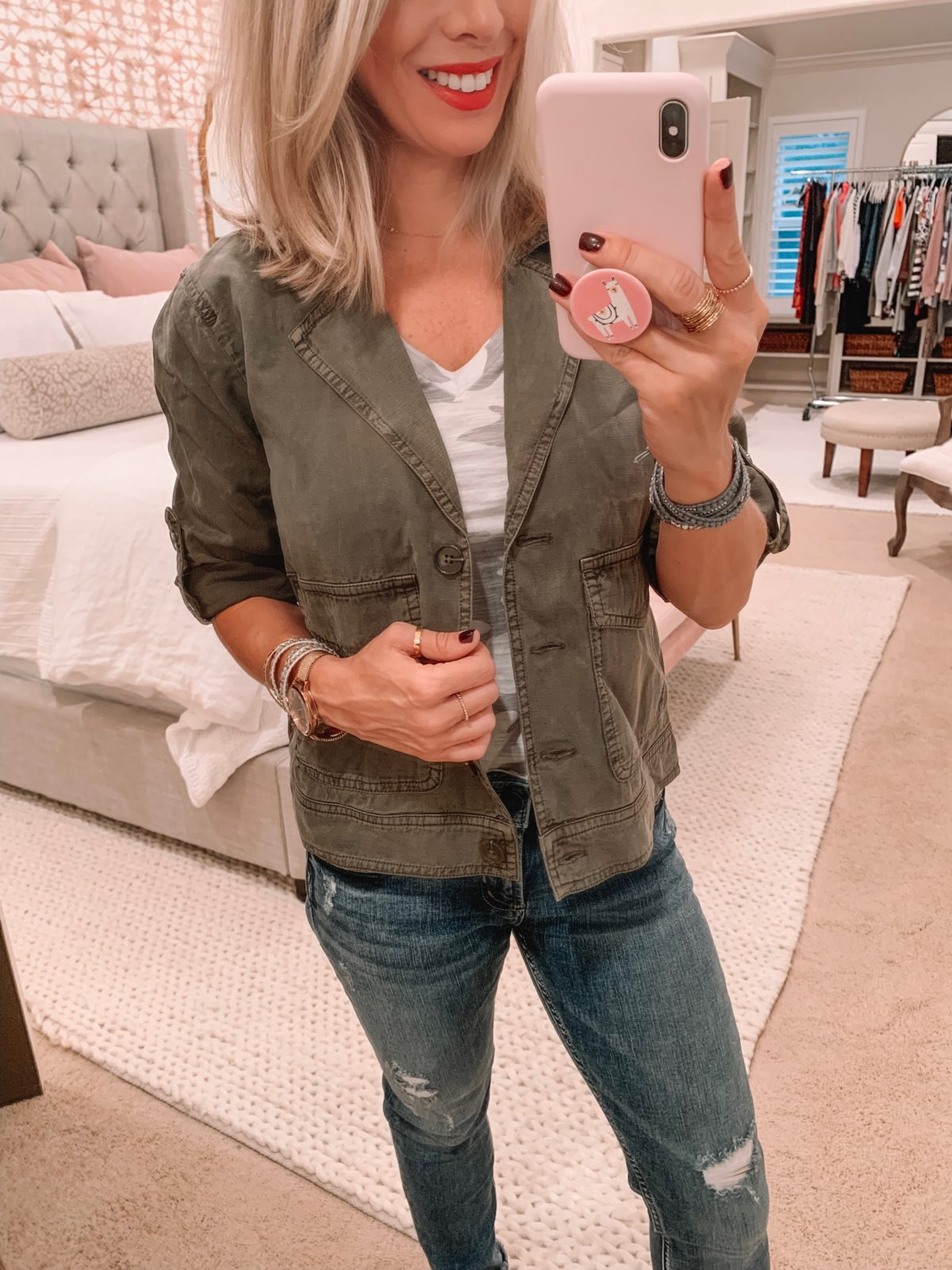 Amazon fashion haul, military jacket and jeans