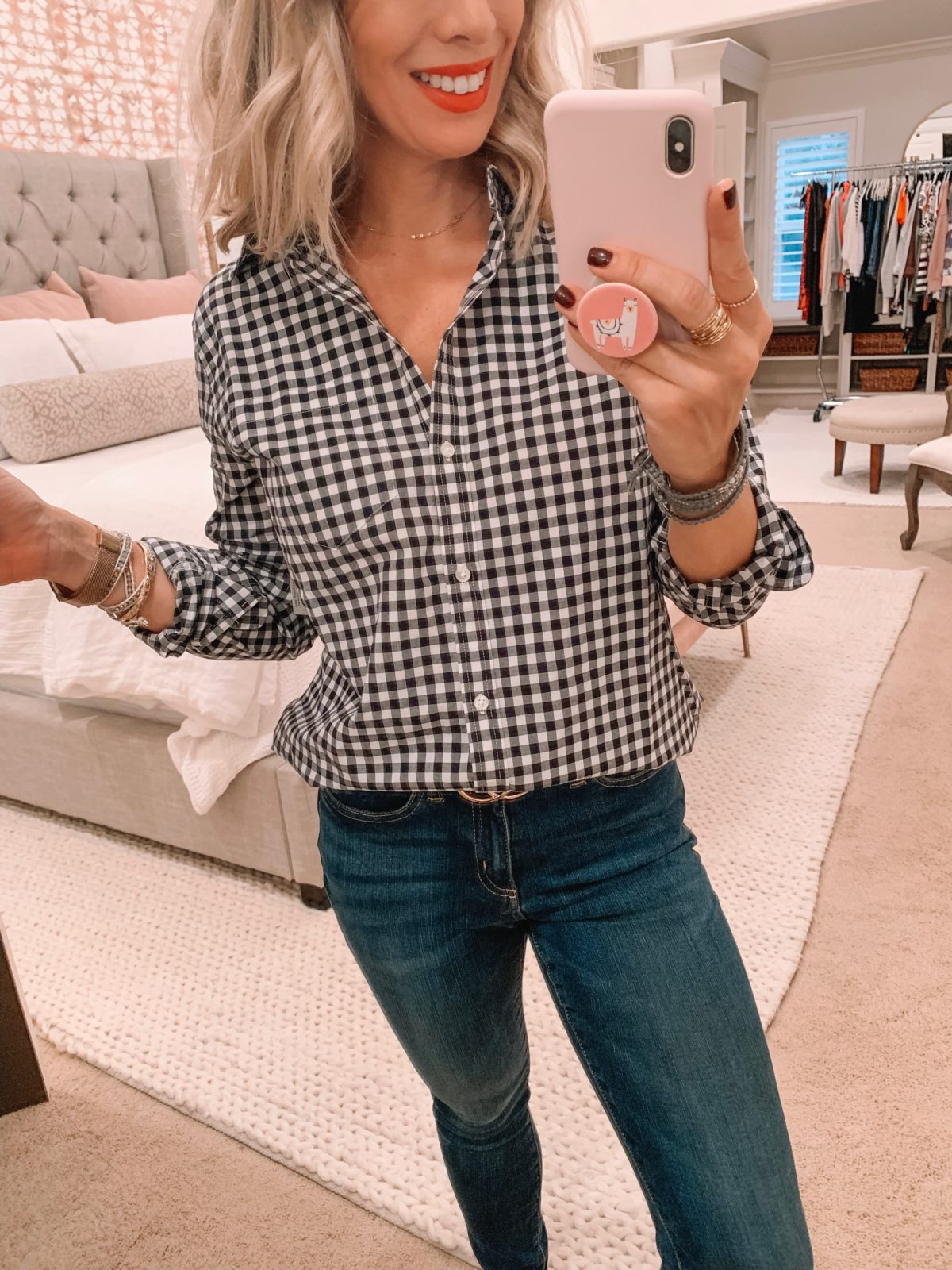 Amazon fashion haul, gingham top and jeans