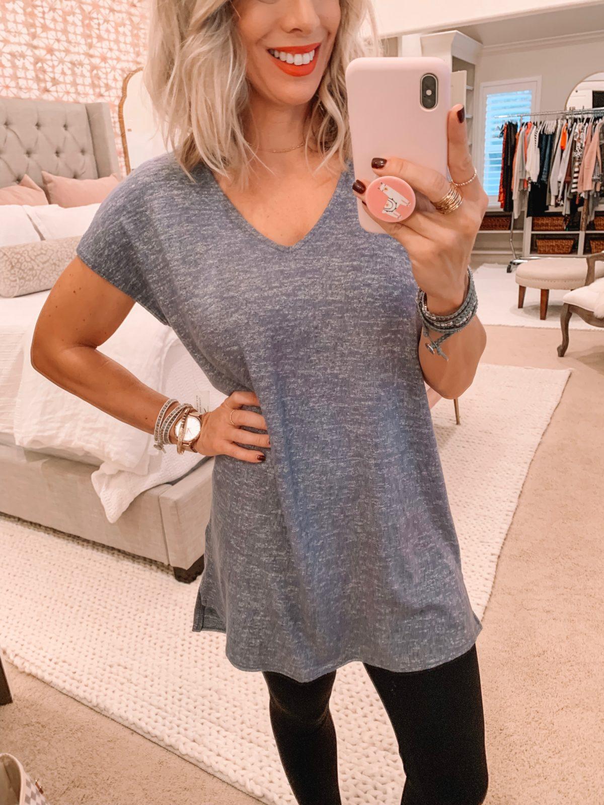 Amazon fashion haul, grey tunic top and leggings