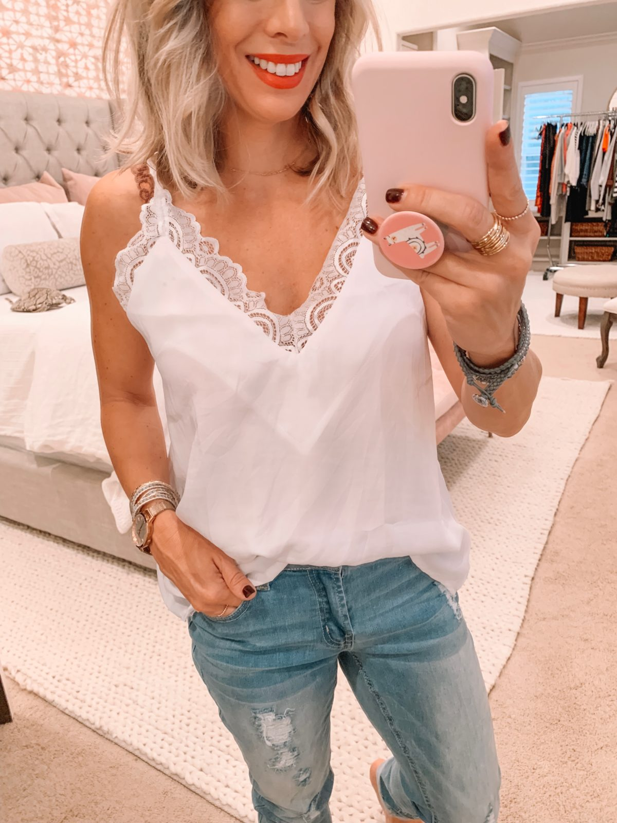 Amazon fashion haul, white cami and jeans