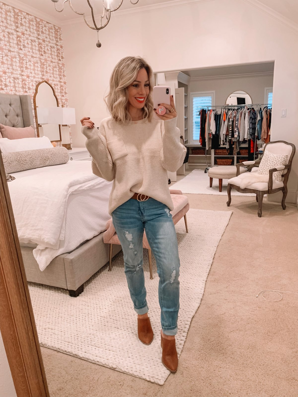 Amazon Prime Fashion-Beige Sweater with Jeans