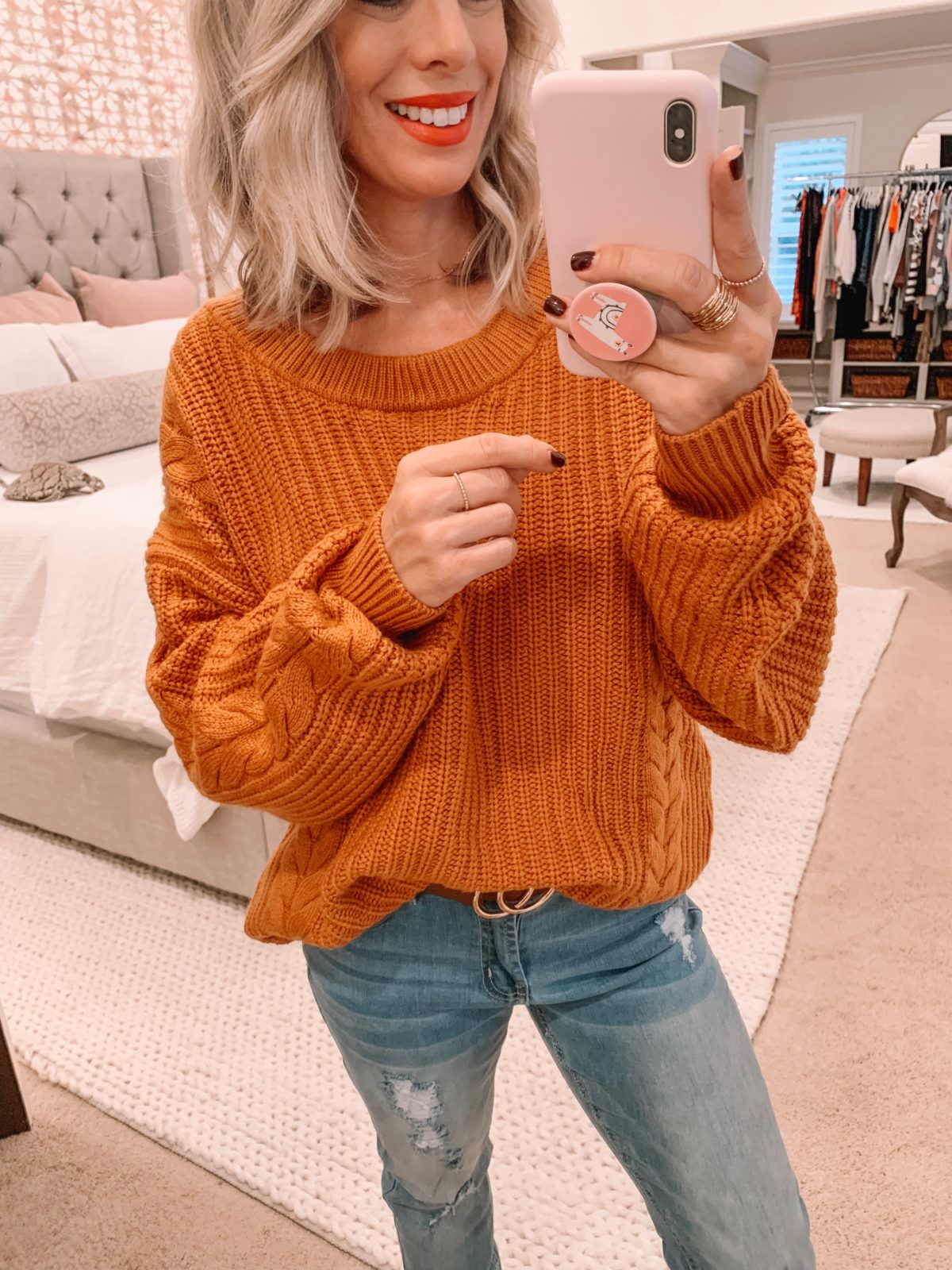 Amazon fashion haul, sweater and jeans