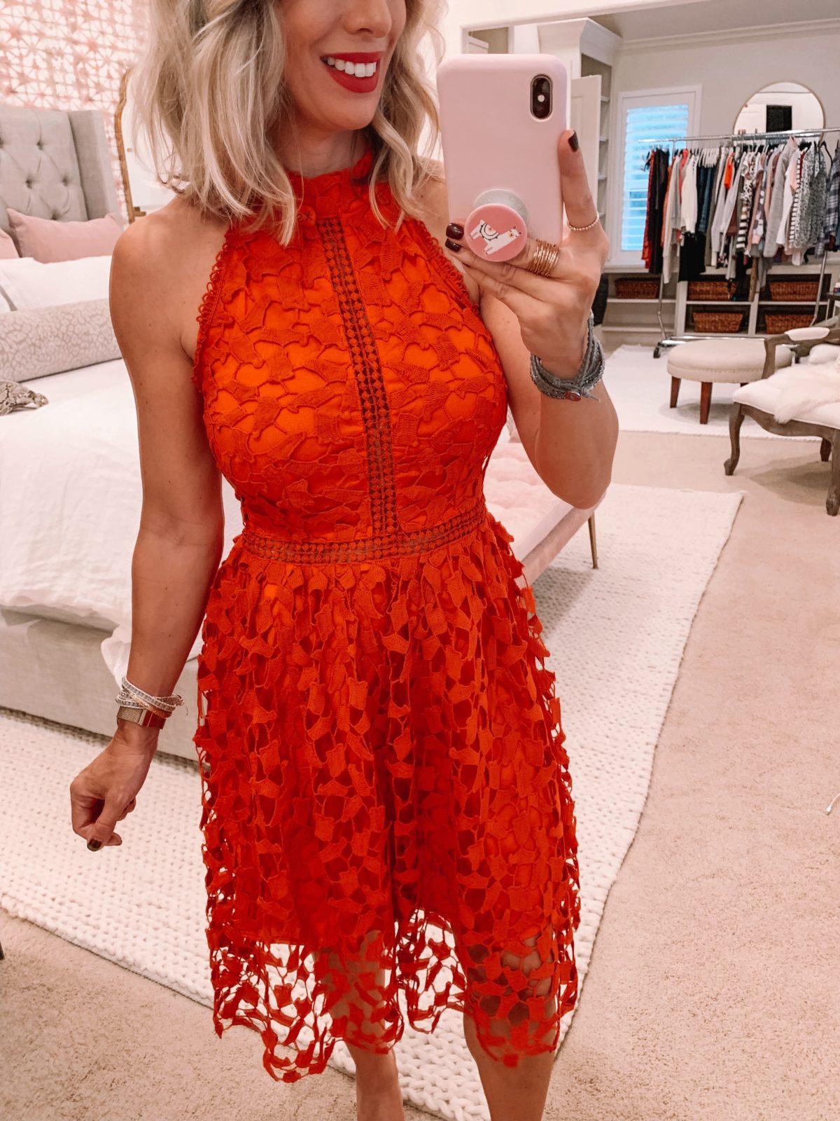 Amazon fashion haul, red lace dress