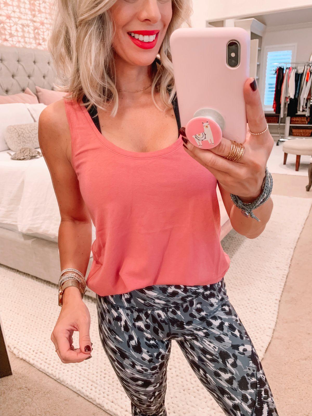Amazon fashion haul, animal print leggings and tank