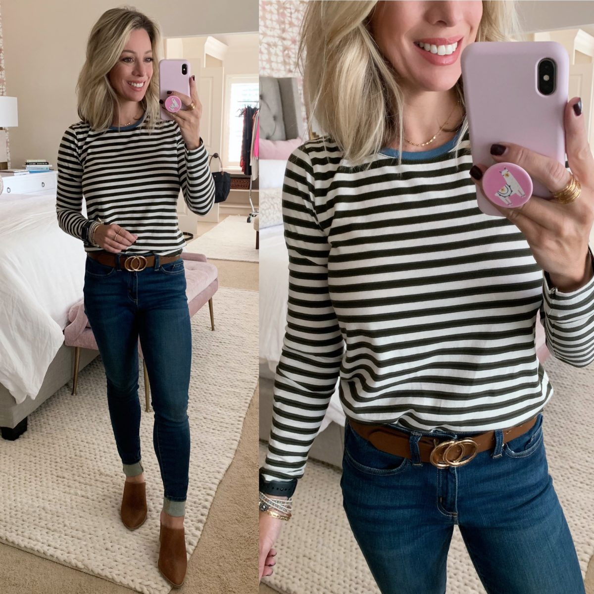 long sleeve striped tee and jeans
