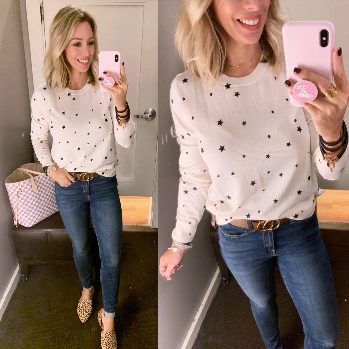 star shirt and jeans
