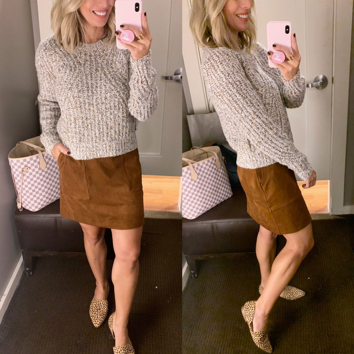 sweater and corduroy skirt