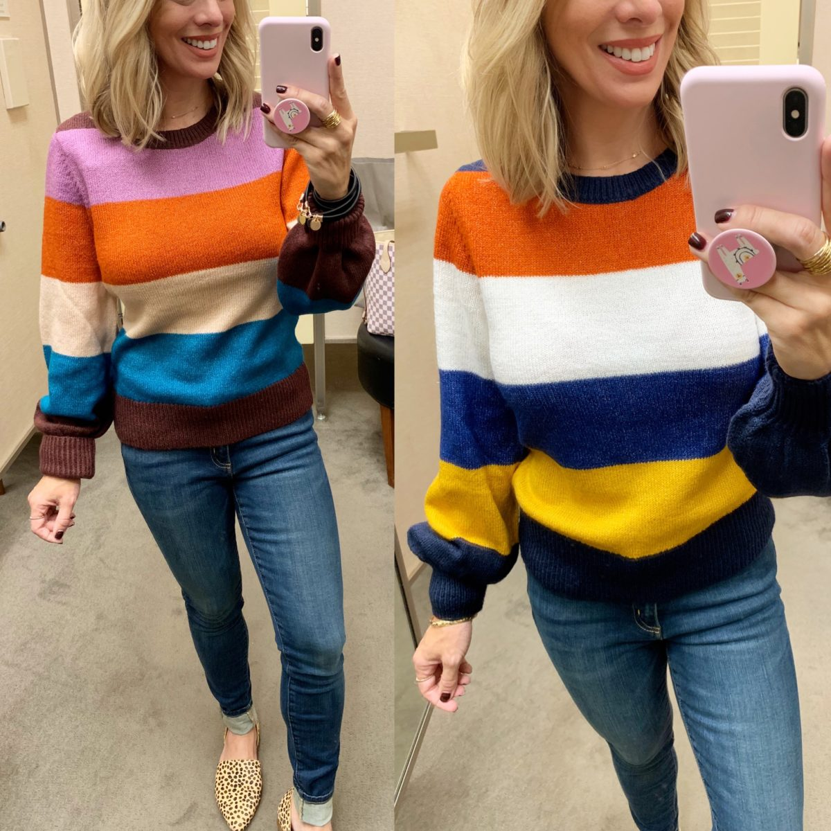 color block sweater and jeans