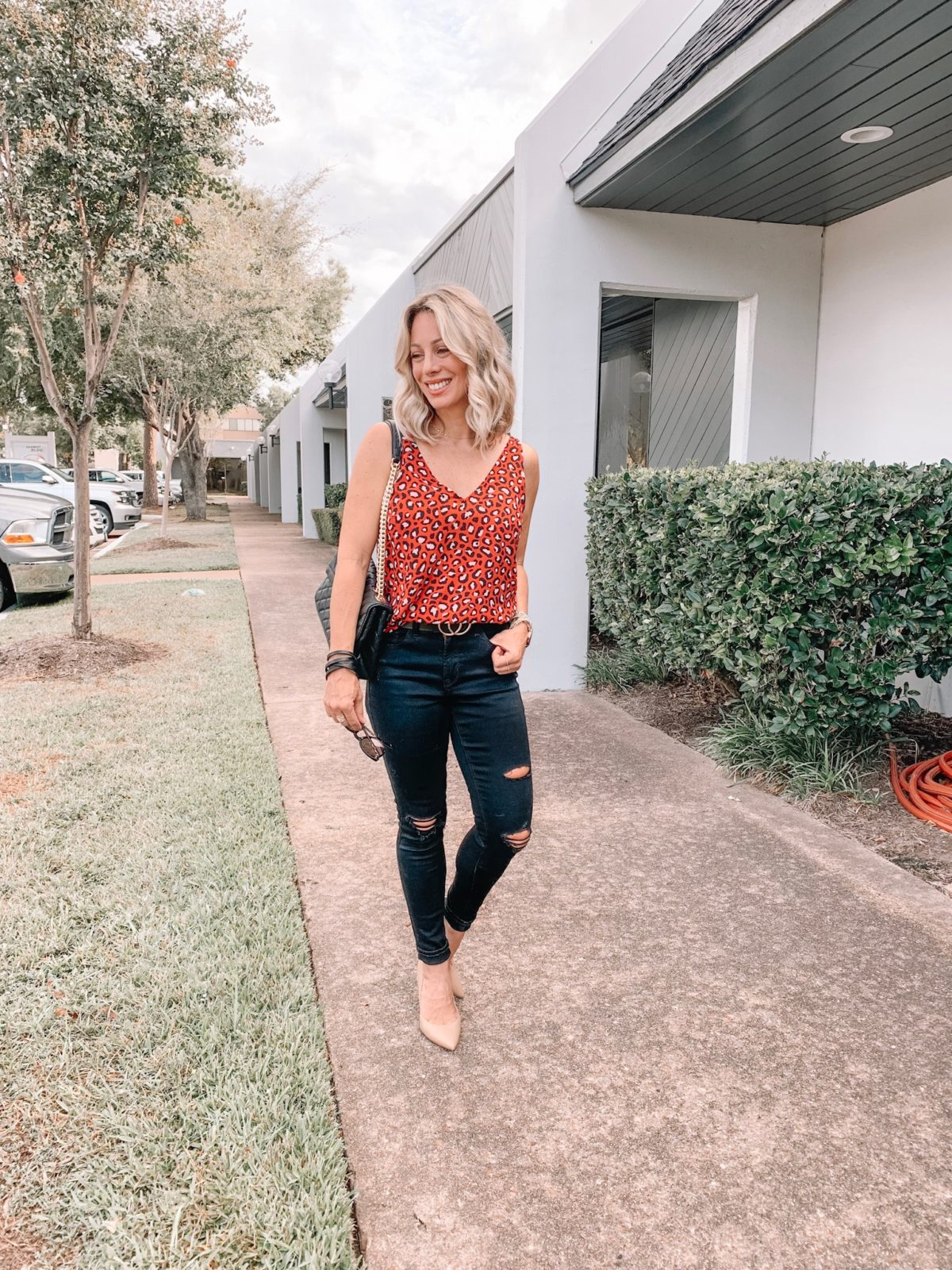 Leopard Tank and Black Jeans