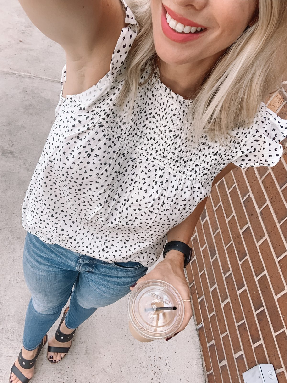 smocked top and jeans