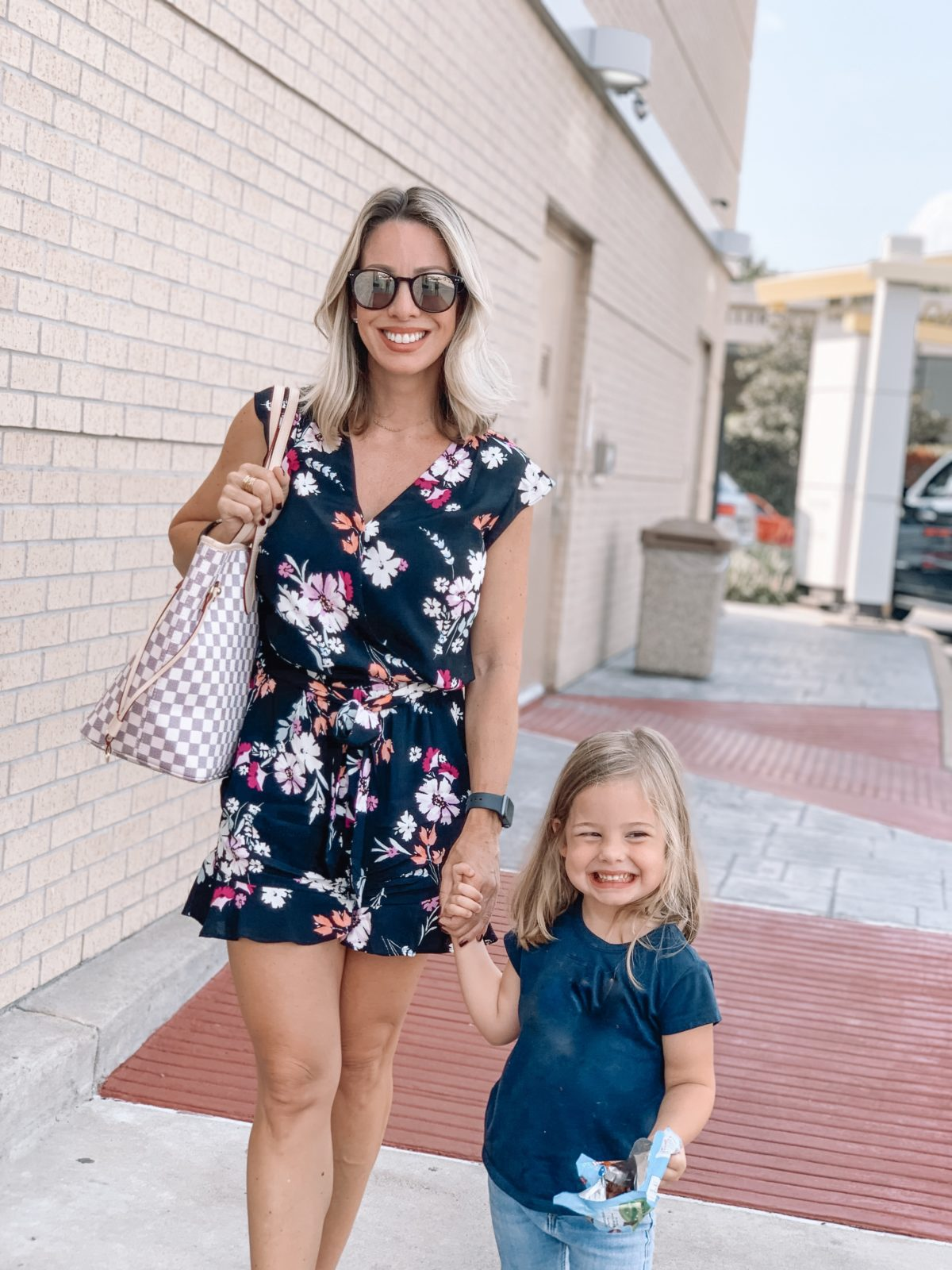 Floral Romper and Amazon Tote