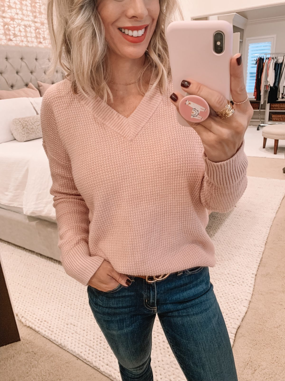 Amazon fashion haul, pink sweater and jeans