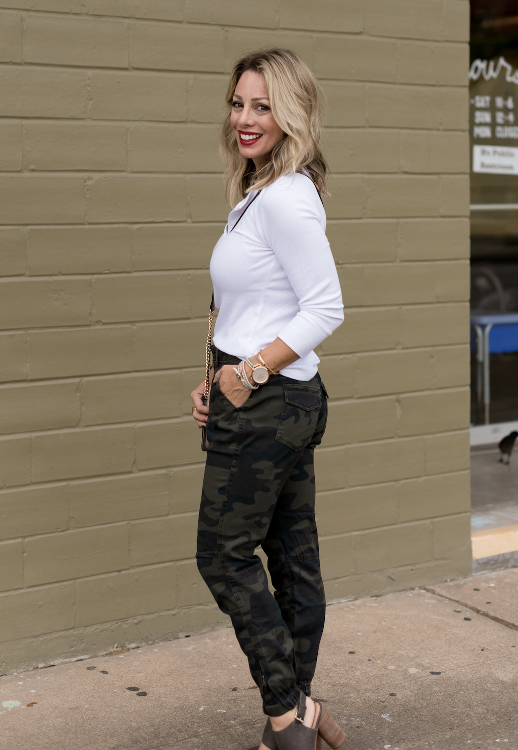 White Top With Camo Pants